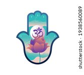 hand of hamsa with lotus and... | Shutterstock .eps vector #1938560089