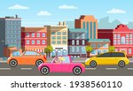 modern car parking along town... | Shutterstock .eps vector #1938560110