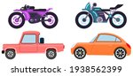 cars and motorcycles of... | Shutterstock .eps vector #1938562399