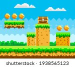 pixel game background with... | Shutterstock .eps vector #1938565123