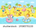 a group of cute happy kids are... | Shutterstock .eps vector #1938570133