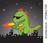 vector green godzilla is... | Shutterstock .eps vector #193861700