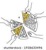 pizza with different pieces and ...   Shutterstock .eps vector #1938633496