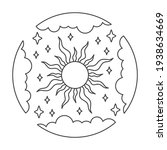 sun symbol into clouds circle...   Shutterstock .eps vector #1938634669