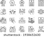 lotto line icon set. included... | Shutterstock .eps vector #1938652630