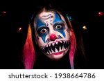 Scary clown girl makeup for...