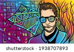 colourful psychedelic line art...   Shutterstock .eps vector #1938707893