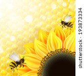 sunflowers and bees over... | Shutterstock . vector #193873334