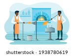 Couple of men create beautiful craft production. Flat abstract metaphor outline cartoon vector illustration concept design. Simple art isolated on white background.