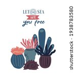 vector sea life poster with... | Shutterstock .eps vector #1938783580