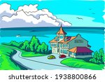 motel by the sea. two cars are... | Shutterstock .eps vector #1938800866