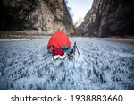 Red Hiking Bag On Bubble Ice In ...