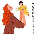 mom throwing and catching son... | Shutterstock .eps vector #1938904819