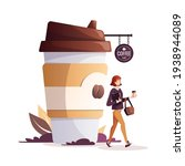 woman with coffee in paper cup. ...   Shutterstock .eps vector #1938944089