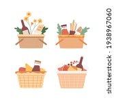 picnic baskets set. food in... | Shutterstock .eps vector #1938967060