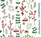 pattern winter flowers berries  ... | Shutterstock .eps vector #1938994420
