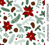 pattern winter flowers berries  ... | Shutterstock .eps vector #1938994429