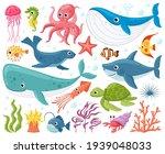 cartoon sea animals. cute ocean ... | Shutterstock .eps vector #1939048033