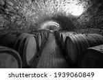 Wine Barrels In A Wine Cellar....