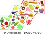 healthy vs junk food like and... | Shutterstock .eps vector #1939074790