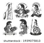 Monochrome Emblems With Athena...