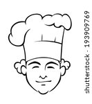 smiling chef with a tall toque... | Shutterstock . vector #193909769