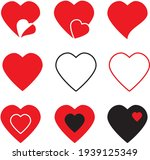 hearts icons  love symbol icon... | Shutterstock .eps vector #1939125349