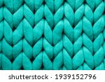 Turquoise Knitted Wool Texture...