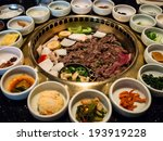Small photo of Korean BBQ with full side dishes
