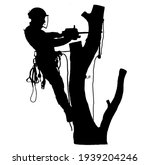 tree surgeon sawing a tree | Shutterstock .eps vector #1939204246