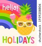 cute cartoon pineapple with...   Shutterstock .eps vector #1939208806