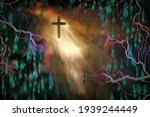 Surreal Painting. Cross In Ray...