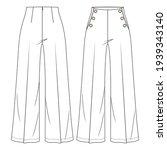 women high waist sailor pant... | Shutterstock .eps vector #1939343140