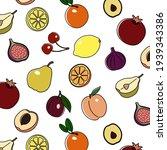 vector fruit seamless pattern.... | Shutterstock .eps vector #1939343386