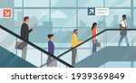 people on the escalator in a...   Shutterstock .eps vector #1939369849