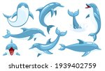 Set Of Cute Dolphins. Cute Blue ...