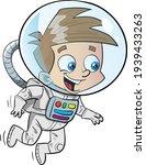 Little Boy Astronaut Space Walk