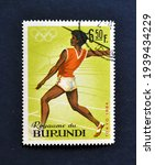 Small photo of Burundi - circa 1965 : Cancelled postage stamp printed by Burundi, that shows Javelin and promotes Summer Olympic Games 1964 - Tokyo, circa 1965.