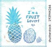 retro pineapple illustration | Shutterstock .eps vector #193944266