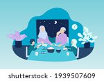muslim familiy having dinner...   Shutterstock .eps vector #1939507609