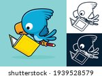 cute bird reading a book while...   Shutterstock .eps vector #1939528579