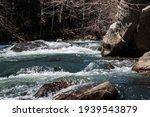 Whitewater kayaker running class three river