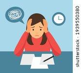 woman feel stress in office.... | Shutterstock .eps vector #1939550380