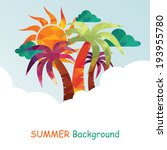 summer background with palms | Shutterstock .eps vector #193955780