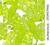 tropical seamless green... | Shutterstock .eps vector #193957940
