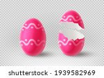 Pink Cracked Egg Isolated On...