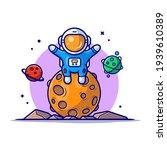 cute astronaut sitting on... | Shutterstock .eps vector #1939610389