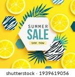 summer sale banner with lemon ... | Shutterstock .eps vector #1939619056