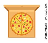 large pizza with tomatoes ... | Shutterstock .eps vector #1939632526