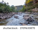 Scenic landscape of Mitchell River flowing through National Park in Australia